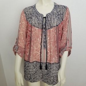 NWT DR2 High Low Tunic Sheer Print Tassel Blouse